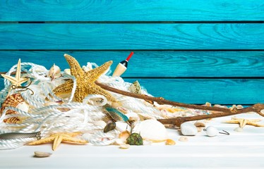 Beach. Summer, sun, beach and sea in Turquoise - wood background