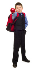 boy in suit with backpack