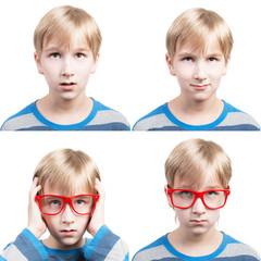Set of preteen boy's portraits