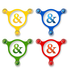 four abstract vector objects and a colored ampersand