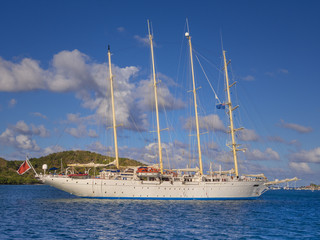 Four masted sailing ship