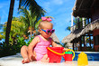 cute toddler girl playing in swimming pool at the beach