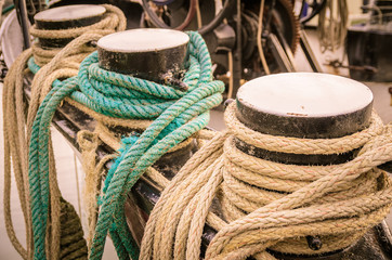 Ropes on the side of old sailing ship