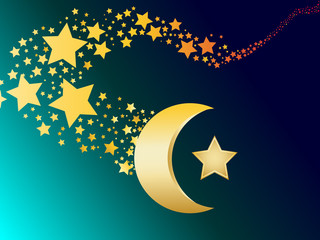 muslim gold star and crescent vector illustration