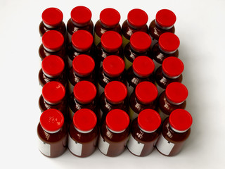 Vials stand in rows