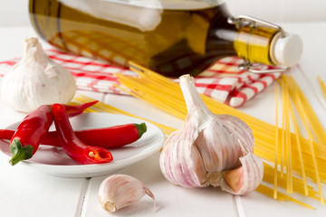 Ingredients for spaghetti with pepper, garlic, olive oil