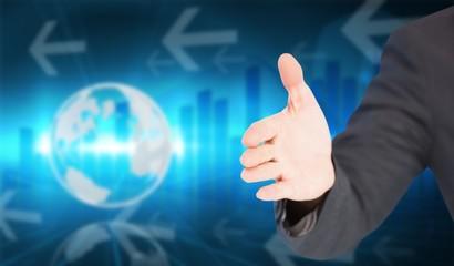 Composite image of businessman extending arm for handshake