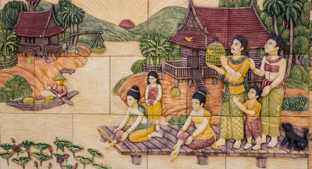 Sculpture art of Thai living culture