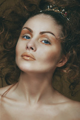 Portrait of beauty girl model closeup.