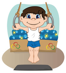 Child athlete doing artistic gymnastics on the rings
