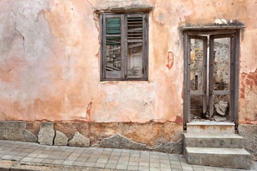 Abandoned house after an earthquake