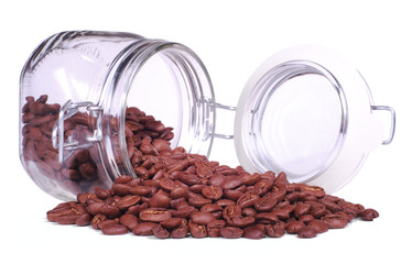 Coffee beans pour from jar