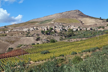 Belice valley, sicilian village on a hill
