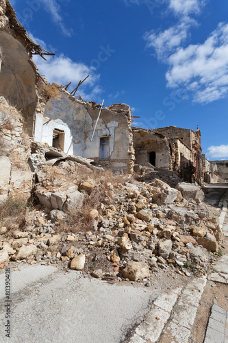 Collapsed buildings after an earthquake