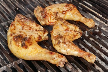 Grilled Chicken Thigh On The Flaming Grill
