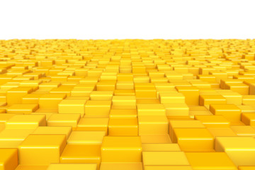 Abstract background, yellow cubes. DOF