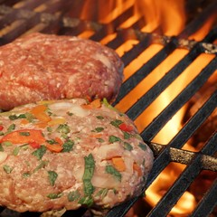 Two Handmade Burgers On The Barbecue Grill. Summer Party Image.