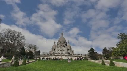 Paris landmark of Montmartre church-Time Lapse