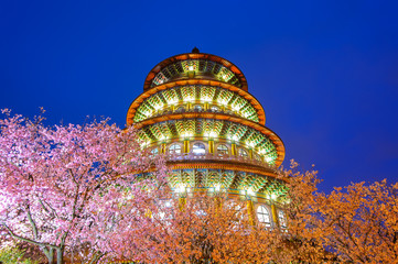 Tien-Yuan temple with cherry blossom in Taipei