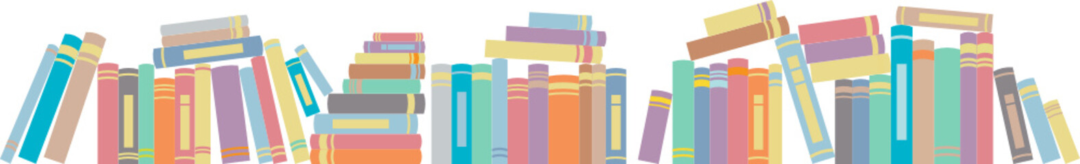 Books in horizontal line