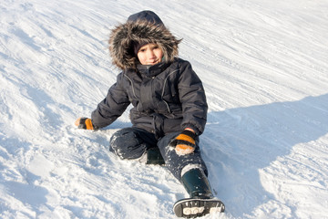 Young boy on snow