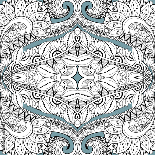 Seamless Abstract Tribal Pattern (Vector). Hand Drawn Ethnic Tex