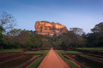 Sigiriya. Lion's rock and gardens at sunset, Sri Lanka