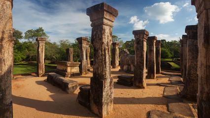 Panorama of ancient ruins Royal palace in Polonnaruwa Srilanka