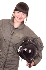 beautiful young female pilot holding helmet