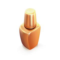 Golden nail polish isolated on white background.
