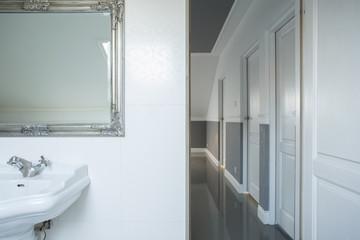 Bathroom overlooking at corridor