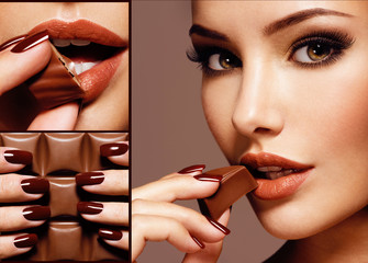 Beautiful young woman with chocolate. Collage
