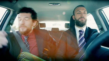 Two business men stock in traffic getting angry