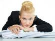 Business woman at work has a headache