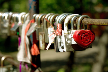 lock of love on the fence