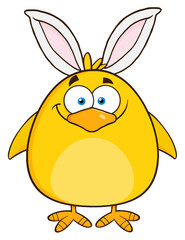 Smiling Easter Chick Cartoon Character With Bunny Ears