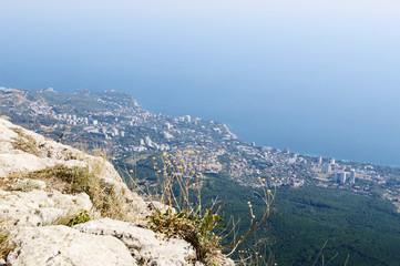 On top of Ai-Petri plateau, view of  coast, Crimea.