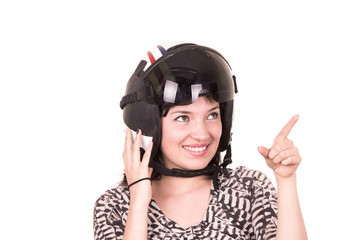 beautiful fun happy young girl wearing a helmet