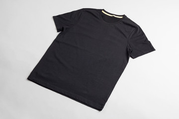 Black tshirt template ready for your graphic design.