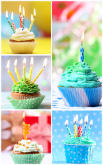 Birthday cupcakes collage