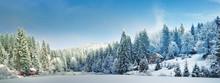 "Постер, картина, фотообои ""Панорама зимним утром в Карпатах"""