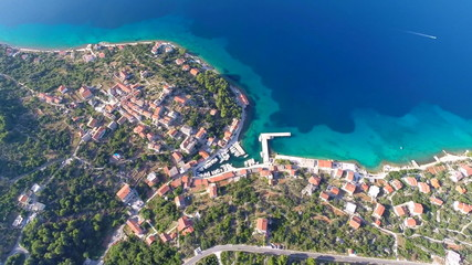 Aerial footage of island in Croatia