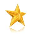 golden five corner star on white background