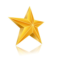 golden five corner star on white background