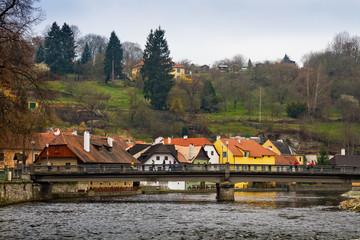 Чехия. Чешский Крумлов. Мост через реку Влтава