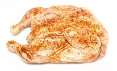 raw chicken in a frying pepper