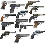 Set of isolated vintage personal firearms of XX century on white