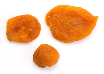 apricots dried  on a white background