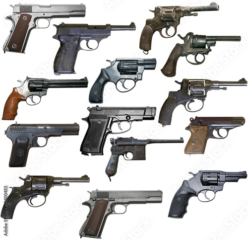 Poster Retro Set of isolated vintage personal firearms of XX century on white