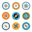 Wind rose compass flat vector symbols set - 80400898